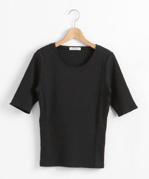 le.coeur blanc / ルクールブラン カットソー | テレコワイドリブ5分袖カットソー(ブラック)