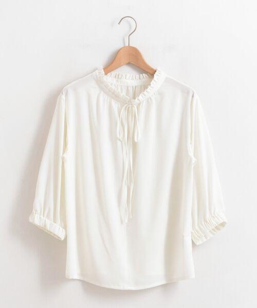 le.coeur blanc / ルクールブラン シャツ・ブラウス | フリルネック2way7分袖ブラウス(ホワイト)