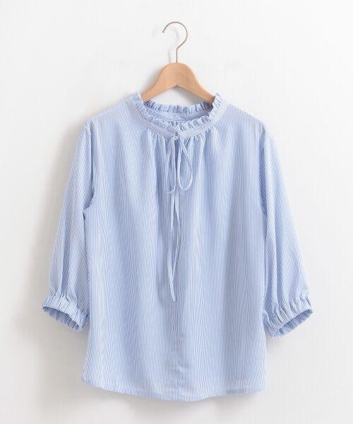le.coeur blanc / ルクールブラン シャツ・ブラウス | フリルネック2way7分袖ブラウス(ブルー柄)