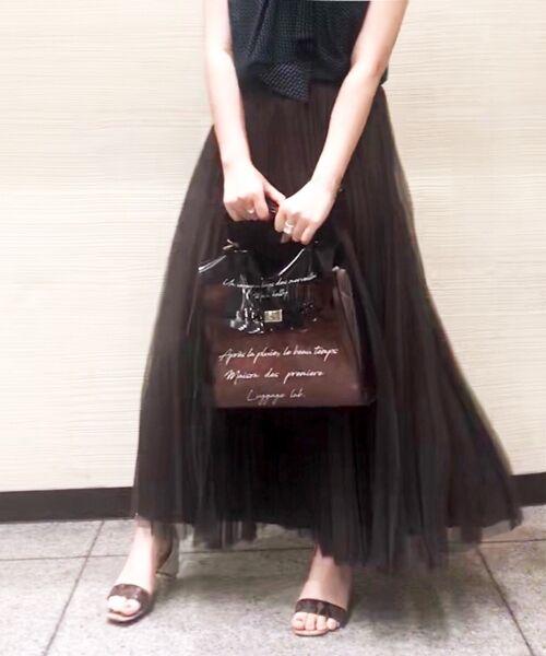 le.coeur blanc / ルクールブラン ロング・マキシ丈スカート | チュールプリーツ×サテンギャザーリバースカート(ブラウン)