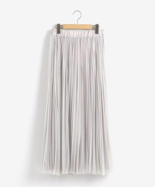 le.coeur blanc / ルクールブラン ロング・マキシ丈スカート | チュールプリーツ×サテンギャザーリバースカート(L/グレー)