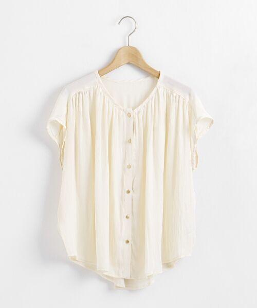 le.coeur blanc / ルクールブラン シャツ・ブラウス | サテンギャザーフレンチブラウス(アイボリー)
