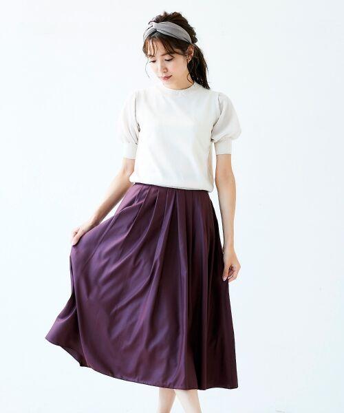 le.coeur blanc / ルクールブラン ミニ・ひざ丈スカート | マイクロスパンタックギャザースカート(ワイン)