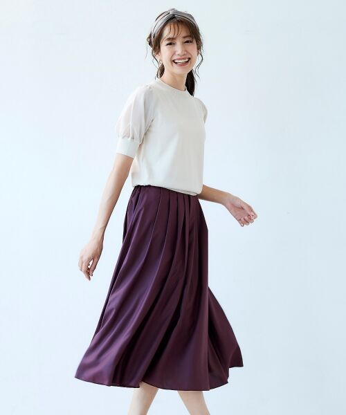 le.coeur blanc / ルクールブラン ミニ・ひざ丈スカート | マイクロスパンタックギャザースカート | 詳細9