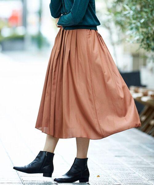 le.coeur blanc / ルクールブラン ミニ・ひざ丈スカート | マイクロスパンタックギャザースカート(キャメル)