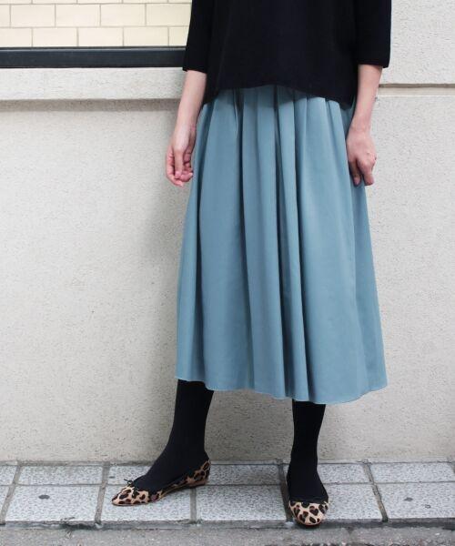 le.coeur blanc / ルクールブラン ミニ・ひざ丈スカート | マイクロスパンタックギャザースカート(ブルー)