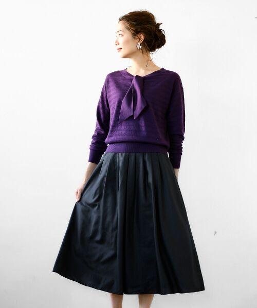 le.coeur blanc / ルクールブラン ミニ・ひざ丈スカート | マイクロスパンタックギャザースカート(ブラック)
