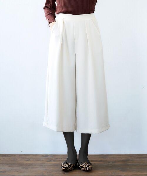 le.coeur blanc / ルクールブラン その他パンツ | ウエストイージーワイドクロップドパンツ(アイボリー)