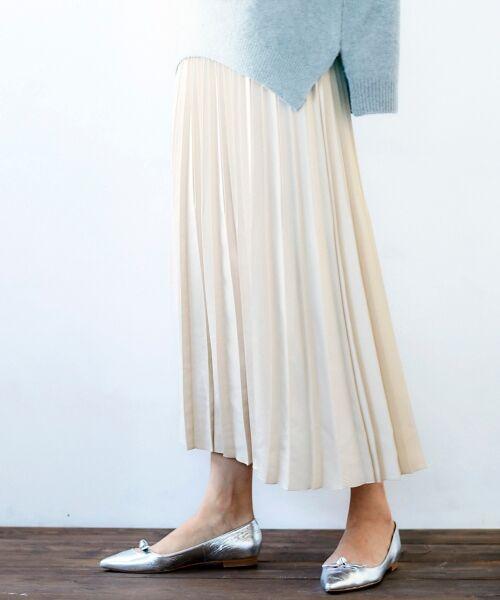 le.coeur blanc / ルクールブラン ロング・マキシ丈スカート | サテンアコーディオンプリーツスカート(グレージュ)