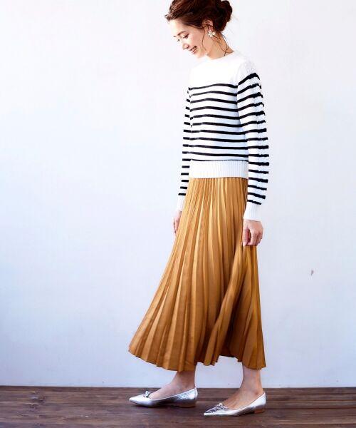 le.coeur blanc / ルクールブラン ロング・マキシ丈スカート | サテンアコーディオンプリーツスカート(キャメル)
