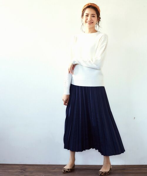 le.coeur blanc / ルクールブラン ロング・マキシ丈スカート | サテンアコーディオンプリーツスカート(ネイビー)