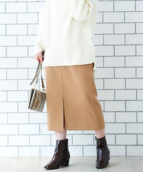 le.coeur blanc / ルクールブラン ミニ・ひざ丈スカート | ハイウエストポケットタイトスカート(ベージュ)