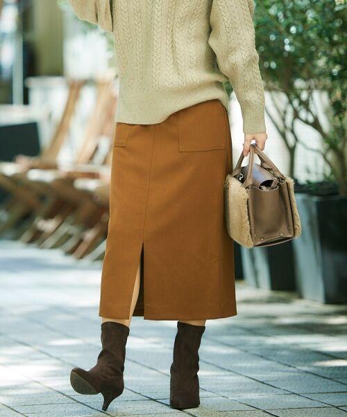 le.coeur blanc / ルクールブラン ミニ・ひざ丈スカート | ハイウエストポケットタイトスカート(ブラウン)