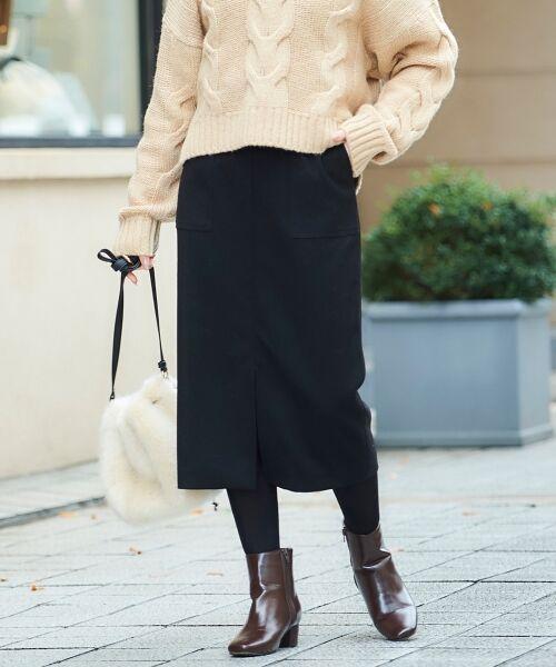 le.coeur blanc / ルクールブラン ミニ・ひざ丈スカート | ハイウエストポケットタイトスカート(ブラック)