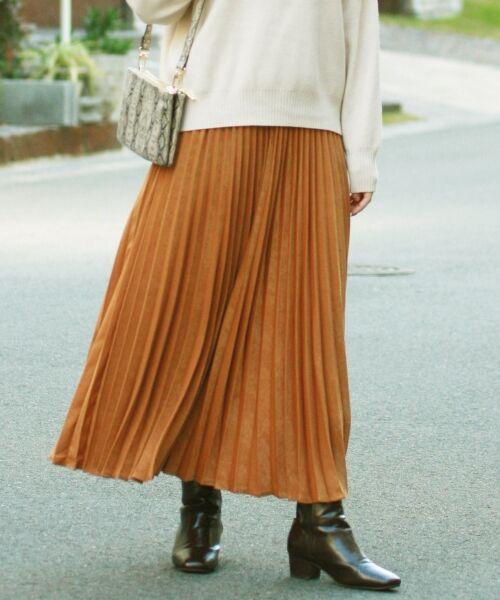 le.coeur blanc / ルクールブラン ロング・マキシ丈スカート | ピーチサテンアコーディオンプリーツスカート(キャメル)