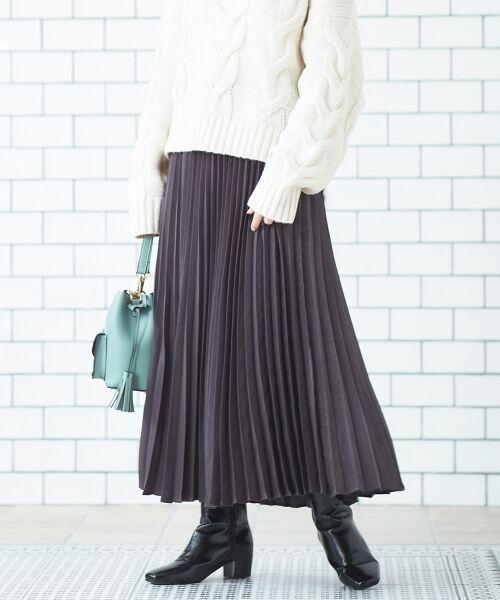 le.coeur blanc / ルクールブラン ロング・マキシ丈スカート | ピーチサテンアコーディオンプリーツスカート(D/グレー)