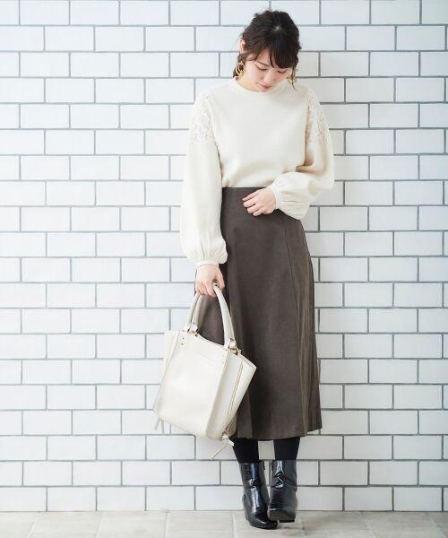 le.coeur blanc / ルクールブラン ミニ・ひざ丈スカート   スエードタッチフレアースカート   詳細6