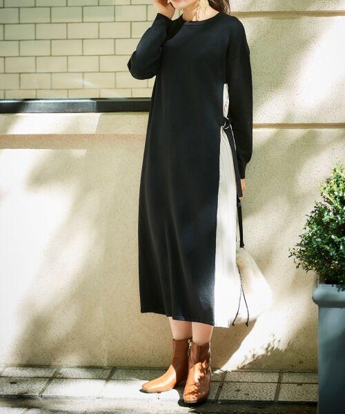 le.coeur blanc / ルクールブラン ロング・マキシ丈ワンピース | サイドプリーツニットワンピース(ブラック)