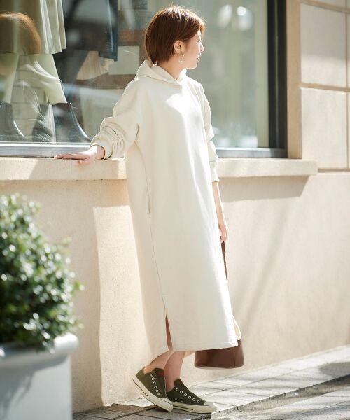 le.coeur blanc / ルクールブラン ロング・マキシ丈ワンピース   スエードライク裏毛フーディーワンピース   詳細2