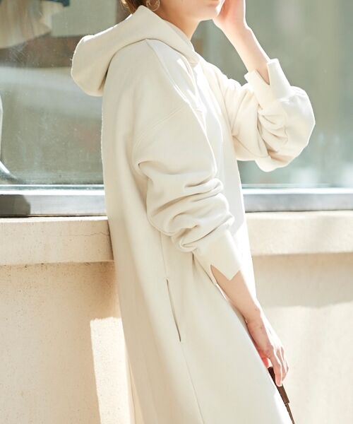 le.coeur blanc / ルクールブラン ロング・マキシ丈ワンピース   スエードライク裏毛フーディーワンピース   詳細4