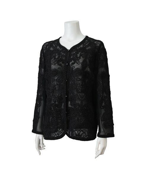 Liliane Burty / リリアンビューティ ノーカラージャケット | 【アンサンブル対応】 チュール刺繍 ボレロジャケット(ブラック)