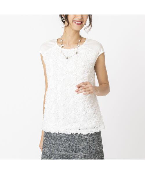 Liliane Burty / リリアンビューティ カットソー   シフォンフラワー刺繍 フレンチスリーブTシャツ(ホワイト)