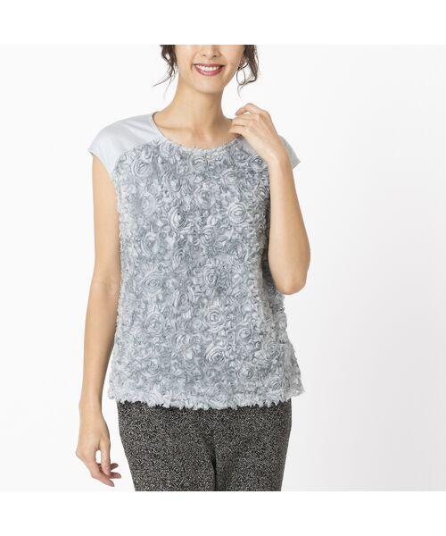Liliane Burty / リリアンビューティ カットソー   シフォンフラワー刺繍 フレンチスリーブTシャツ(グレー)