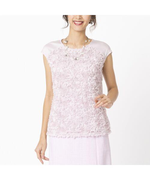 Liliane Burty / リリアンビューティ カットソー   シフォンフラワー刺繍 フレンチスリーブTシャツ(ピンク)