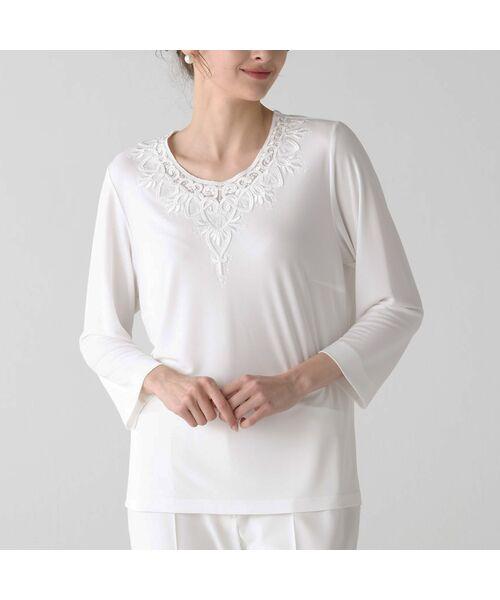 Liliane Burty / リリアンビューティ カットソー | スパンコール刺繍加工 エレガンスTシャツ(ホワイト)
