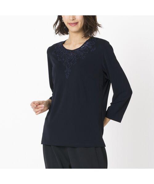 Liliane Burty / リリアンビューティ カットソー | スパンコール刺繍加工 エレガンスTシャツ(ダークブルー)