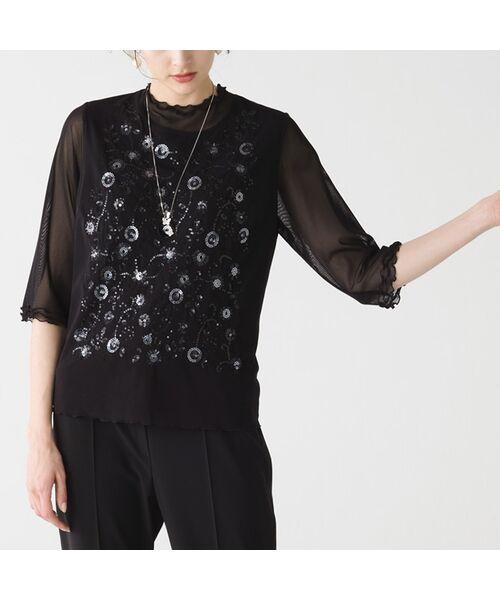 Liliane Burty / リリアンビューティ カットソー   チュール重ね スパンコールTシャツ(ブラック)
