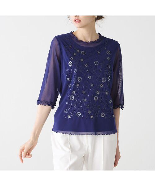 Liliane Burty / リリアンビューティ カットソー   チュール重ね スパンコールTシャツ(ブルー)