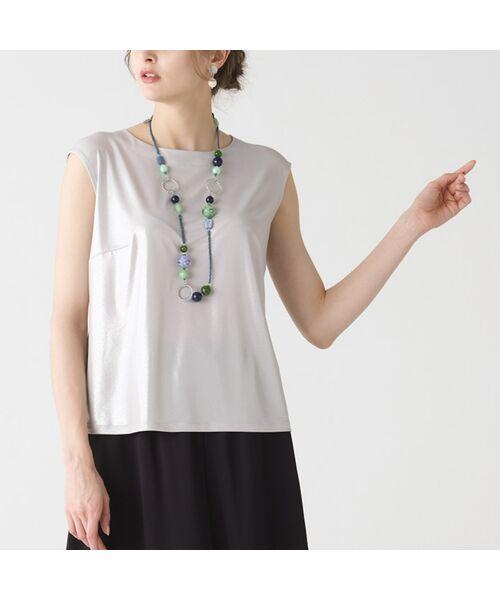 Liliane Burty / リリアンビューティ カットソー | シルバー箔プリント フレンチスリーブTシャツ | 詳細1