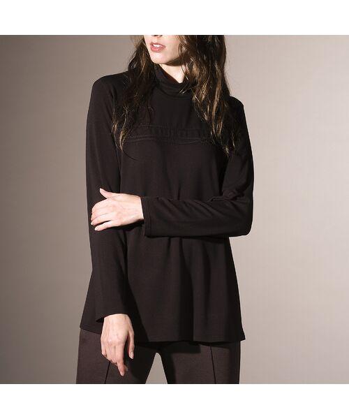 Liliane Burty / リリアンビューティ カットソー   ウォッシャブルシルク ハイネックTシャツ(ブラック)