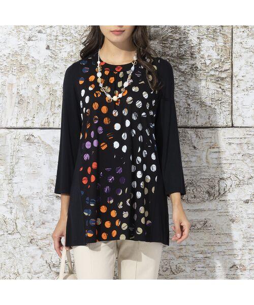 Liliane Burty / リリアンビューティ カットソー   ドイツ製ドットプリント チュニックTシャツ(オレンジ)