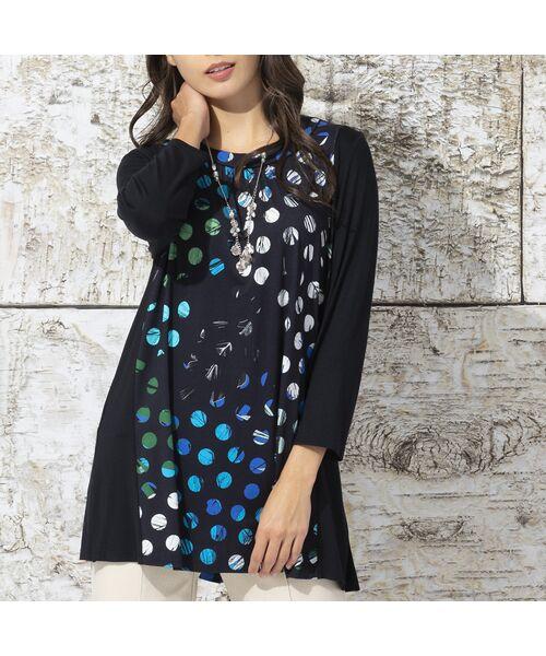 Liliane Burty / リリアンビューティ カットソー   ドイツ製ドットプリント チュニックTシャツ(ブルー)