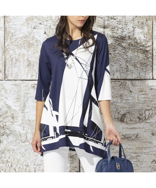 Liliane Burty / リリアンビューティ カットソー | ドイツ製ビックヨットプリント チュニックTシャツ | 詳細1