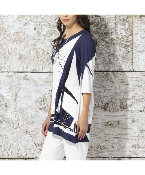 Liliane Burty / リリアンビューティ カットソー | ドイツ製ビックヨットプリント チュニックTシャツ(ダークブルー)