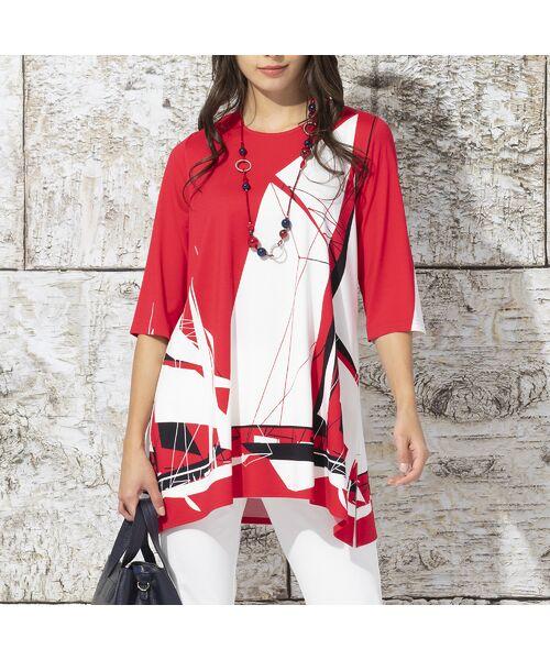 Liliane Burty / リリアンビューティ カットソー | ドイツ製ビックヨットプリント チュニックTシャツ(レッド)