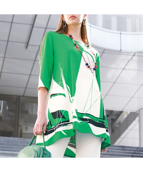 Liliane Burty / リリアンビューティ カットソー | ドイツ製ビックヨットプリント チュニックTシャツ | 詳細9