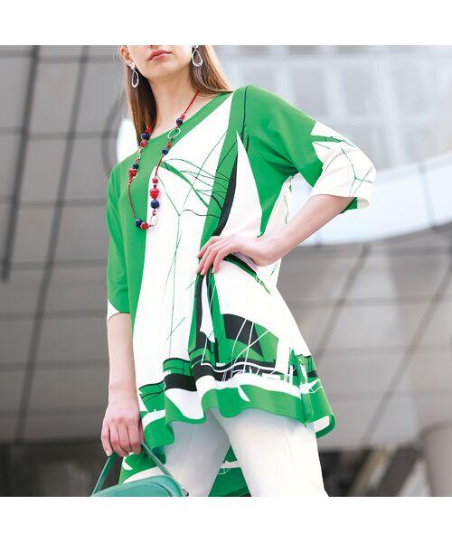 Liliane Burty / リリアンビューティ カットソー | ドイツ製ビックヨットプリント チュニックTシャツ(グリーン)