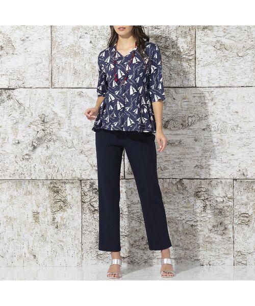 Liliane Burty / リリアンビューティ カットソー | ドイツ製ミニヨットプリント Tシャツ | 詳細4