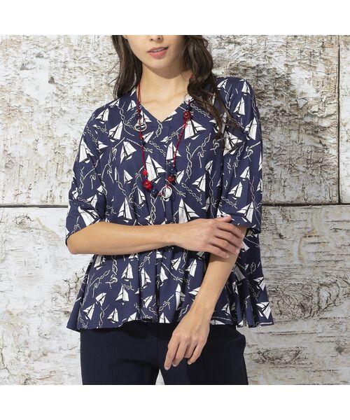 Liliane Burty / リリアンビューティ カットソー | ドイツ製ミニヨットプリント Tシャツ(ダークブルー)