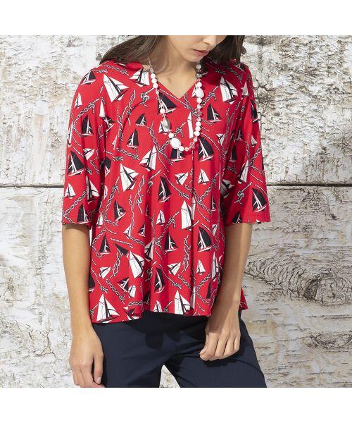 Liliane Burty / リリアンビューティ カットソー | ドイツ製ミニヨットプリント Tシャツ | 詳細7