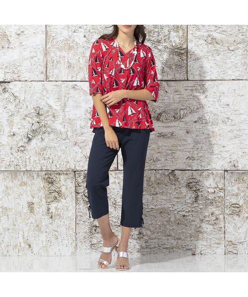 Liliane Burty / リリアンビューティ カットソー | ドイツ製ミニヨットプリント Tシャツ | 詳細8