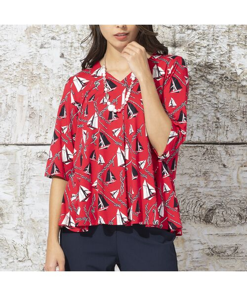 Liliane Burty / リリアンビューティ カットソー | ドイツ製ミニヨットプリント Tシャツ(レッド)