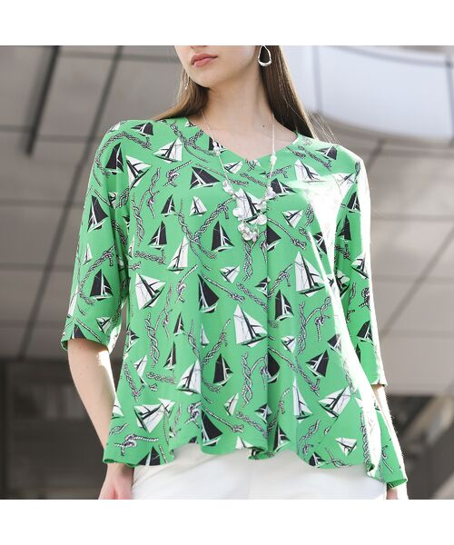 Liliane Burty / リリアンビューティ カットソー | ドイツ製ミニヨットプリント Tシャツ | 詳細10