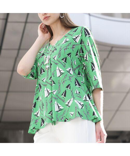 Liliane Burty / リリアンビューティ カットソー | ドイツ製ミニヨットプリント Tシャツ | 詳細11