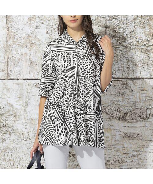 Liliane Burty / リリアンビューティ カットソー | フランス製 ライン幾何プリント 衿付きTシャツ | 詳細1
