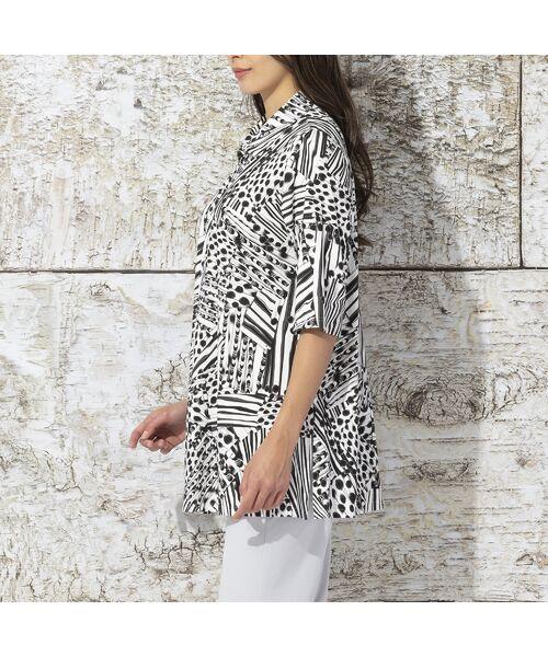 Liliane Burty / リリアンビューティ カットソー | フランス製 ライン幾何プリント 衿付きTシャツ | 詳細2